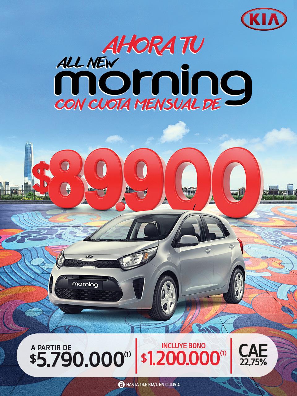 All New Morning conquista la ciudad, ahora con cuota mensual de $99.000 - Cae 25,21% - apartir de $6.290.000(1) incluye bono de $700.000(1)