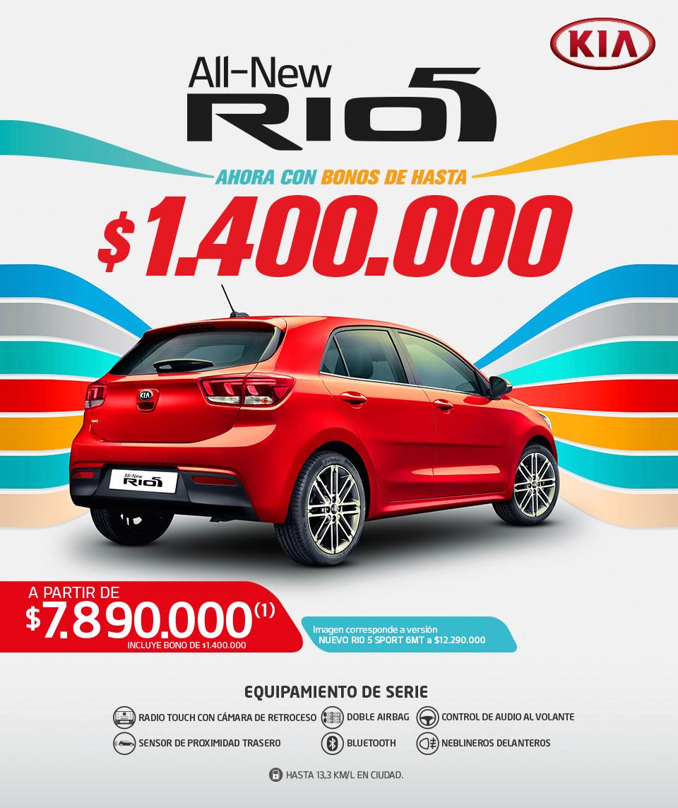 Kia - all new Rio5 - sigue tu Ritmo - a partir de $8.290.000(1) incluye bono marca de $400.000(1) bono financiamiento $600.000- imagen corresponde a versión 1.6L 6MT Sport a $12.290.000