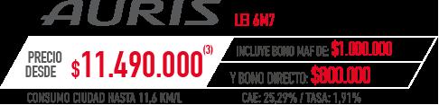 Toyota Auris PRECIO DESDE $11.490.000 INCLUYE BONO MAF DE: $1.000.000 Y BONO DIRECTO: $800.000 en Indumotora One