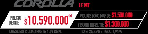 Toyota Corolla PRECIO DESDE $10.590.000 INCLUYE BONO MAF DE: $1.500.000 Y BONO DIRECTO: $1.300.000 en Indumotora One