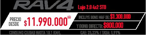 Toyota Rav4 PRECIO DESDE $11.990.000 INCLUYE BONO MAF DE: $1.300.000 Y BONO DIRECTO: $800.000 en Indumotora One en Indumotora One