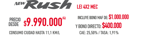 Toyota Rush PRECIO DESDE $9.990.000 INCLUYE BONO MAF DE: $1.000.000 Y BONO DIRECTO: $400.000 en Indumotora One