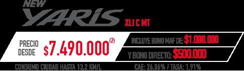 Toyota Yaris PRECIO DESDE $7.490.000 INCLUYE BONO MAF DE: $1.000.000 Y BONO DIRECTO: $500.000 en Indumotora One