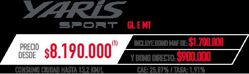 Toyota Yaris Sport PRECIO DESDE $8.190.000 INCLUYE BONO MAF DE: $1.700.000 Y BONO DIRECTO: $900.000 en Indumotora One